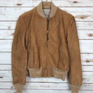 Vtg Sears Fieldmaster Suede Leather Bomber Jacket